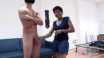 Canadian slut Ashley Lea and her husband work on a large hard cock