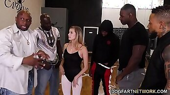 Amateur lady gets fucked in the interracial orgy