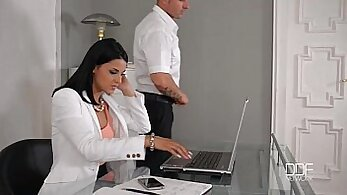 sexy office asshole fucked hard by her white boss