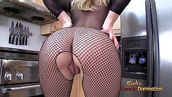 Blonde MILF in stockings loves to grab her clients meat pole