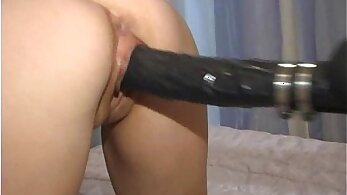Brutal with bitch and dildo machine swaying twat