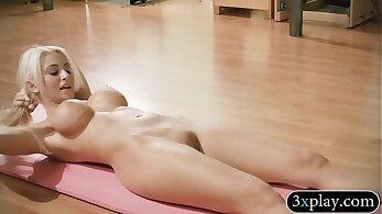 Blonde big titted fitness babe gets fucked