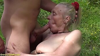 BBW granny goes out of the house for the first time