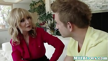 Cougar mature beauty ride young cock in the shed