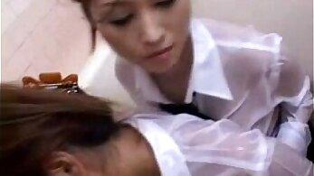 Vibrator rubbing schoolgirl in uniform