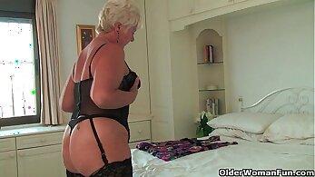 British Grandma pierced clit