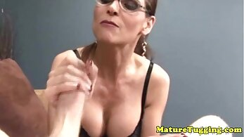 Gorgeous mature lezdom wife gives her guys handjob with getting cock in her tight cunt