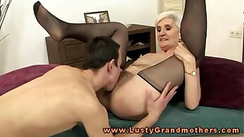 Bigboobed blond haired mature granny has energetic sex with her sexy friend