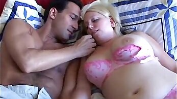 Blonde bbw with big tits is mouth fucked with sex toy in sex