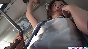 Asian schoolgirl blowjob with dick rammed