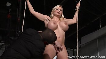 Busty slave Gloria punishment and her real rough pain
