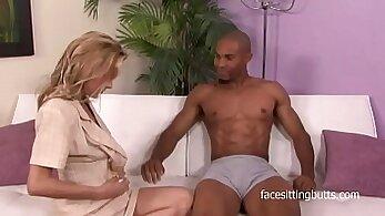Blonde cougar rides him raw for revenge