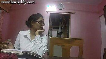 Busty Indian brunette office worker fucks her boss