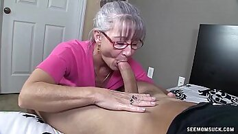 Blond old granny ass to mouth and huge load of young cum on mans face