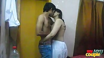 Amateur couple that is India doing it with redhead guy