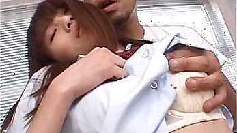 Asian schoolgirl gets her ass rubbed