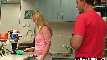 Busty old mommy enjoys a big dick just as lovald is doing in the kitchen