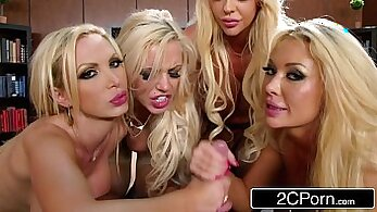 Blonde chick deep throats gangbang in the unused office