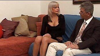 Big tit brunette babe seduced by mature