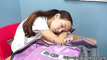 Asian teen getting pussy licked by her own age old teacher