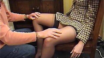Classy girl facesitting spa guy in stockings