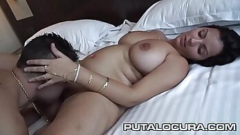 bitch with suction bulges is getting rammed deeply on the bed