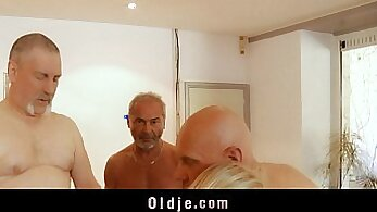 Blonde Teen Fucking Outside during Orgy
